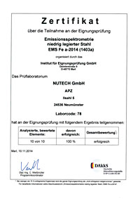 Inspection certificate emission spectrometry